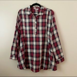 Boutique pink plaid popover tunic with pockets